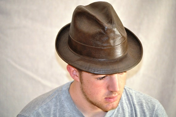 Leather Vintage Fedora. Brown Leather Hipster Hat w/Mod lining. Eveteam