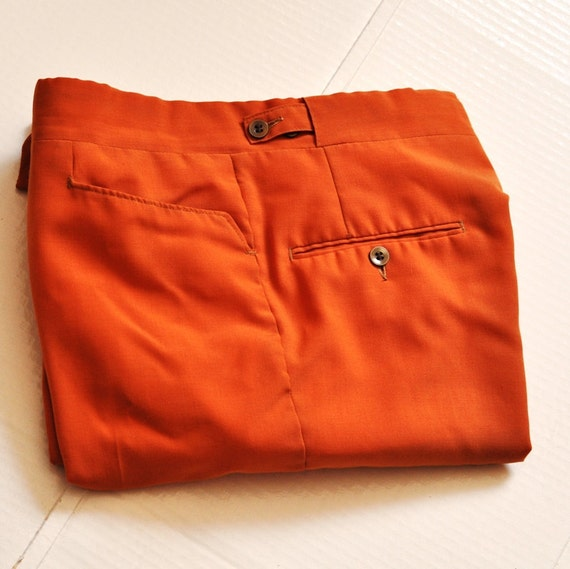 Retro Orange Pants. 1960's Awesome Orange Hipster Hippie Cool Trousers 30/31 XS