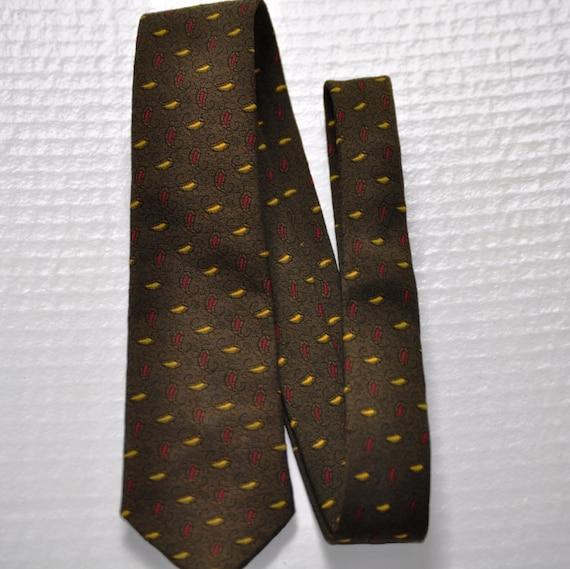 50's Skinny Necktie. Vintage Men's Tie in Olive Green w/Yellow & Red. Eveteam
