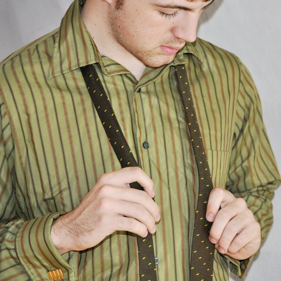 Mens French Cuff Long Sleeve Shirt. Vintage Green Striped Shirt Medium. Eveteam
