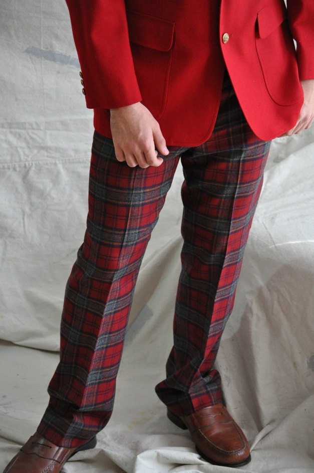 Men's Plaid Trousers. Vintage Wool Plaid Men's by ArmorOfModernMen