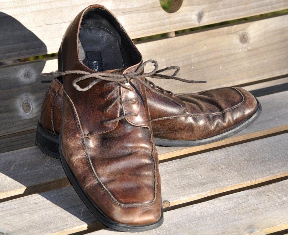 s leather shoes vintage alfani cool worn brown