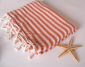 Traditional Turkish Bath Towel: Peshtemal, Light and Thin Bath, Beach, Spa Towel, Coral