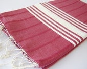 Best quality Turkish Towel, Peshtemal, Natural Soft Cotton Bath and Beach Towel, Hammam, Claret Red