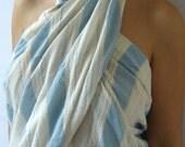 Premium Turkish Towel, peshtemal, beach towel, bath towel, Pareo, Sarong, boat, natural cotton, Light Blue