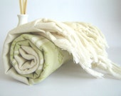 Handwoven Turkish Towel, Kilim Peshtemal, Natural Soft Cotton Bath, Spa,  Beach Towel, Green