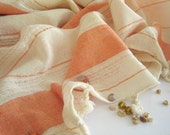 Extra Soft and Absorbant Turkish Bath Towel, Peshtemal, 100% Cotton, Coral Color