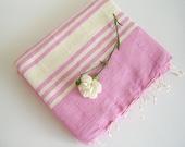 Handwoven BATH Towel, Turkish Peshtemal, Bath, Beach, SPA, Yoga Towel, Natural Soft Cotton, Pink