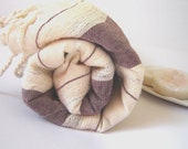 Turkish Bath Towel, Handwoven, Extra Soft and Absorbant, Feather Peshtemal, 100% Cotton, Brown Striped
