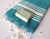 Elegant Turkish Towel, Natural Soft Cotton Bath and Beach Towel, Peshtemal, Dark Green