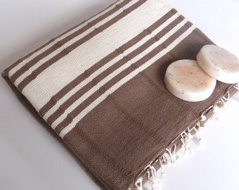 Handwoven, Natural Soft Cotton Bath and Beach Towel (Peshtemal), Brown