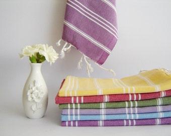 Christmas gift , Set of 2 Turkish Hand Towel, Head Towel (Peshkir), Tea iTowel,  pink