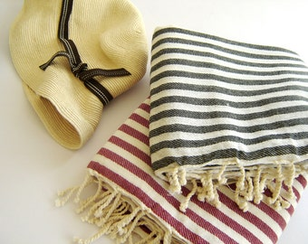 SALE Set of 2 Turkish Bath Towel: Peshtemal, Bath, Beach, Spa Towel, Black, Red, bridesmaid, wedding party, mother's day gift