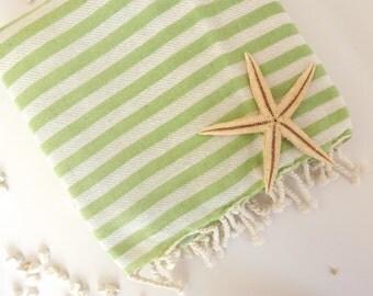 Premium Turkish Towel: Peshtemal, Bath, Beach, Spa Towel, Green, , mom, summer coverups, bridesmaid, mother's day