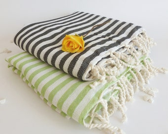 SALE Set of 2 Turkish Bath Towel: Peshtemal, Light and Thin Bath, Beach, Spa Towel, Black and Green, mother's day gift