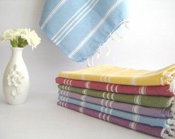 Set of  2 Turkish Baby Towel, Peshkir, Tea Towel, kitchen towel, soft baby towel, natural cotton,head towel, colorful, Fouta towel, blue