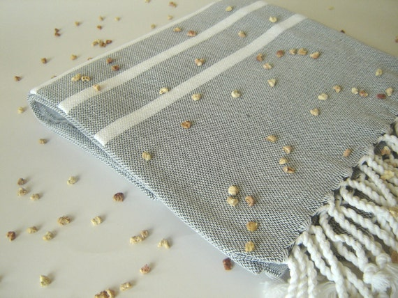 Handwoven, light & thin bath and beach towel: Turkish Peshtemal, Natural Soft Cotton, Gray