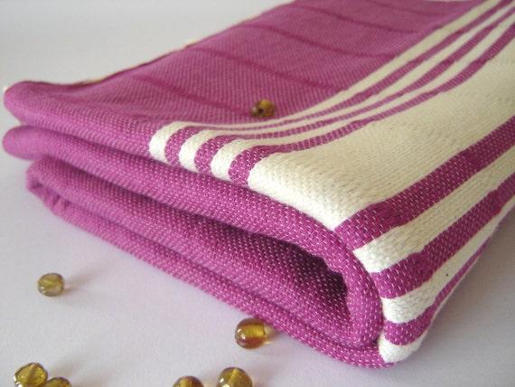 High quality Turkish Towel, Natural Soft Cotton, Bath and Beach Towel , Turkish Peshtemal, Fuchsia