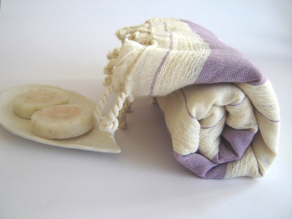 Bath and Beach Towel, Eco-friendly, Sarong, Paroe, Traditional Turkish Peshtemal, 100% Cotton, Lilac