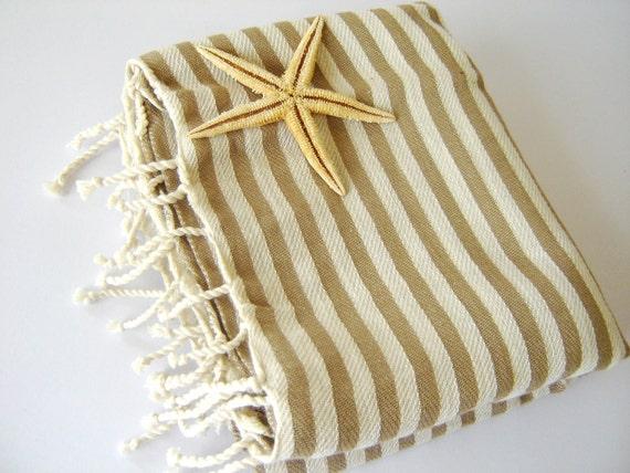 Turkish Bath Towel: Handwoven Peshtemal, Bath, Beach, Spa Towel, Light Brown Striped