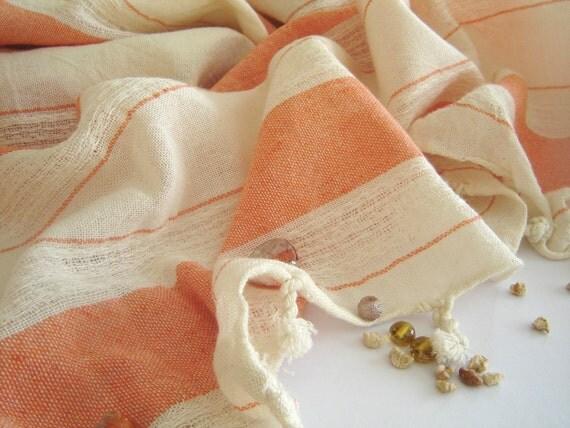 Extra Soft and Absorbant Turkish Bath Towel, Peshtemal, 100% Cotton, Coral Color