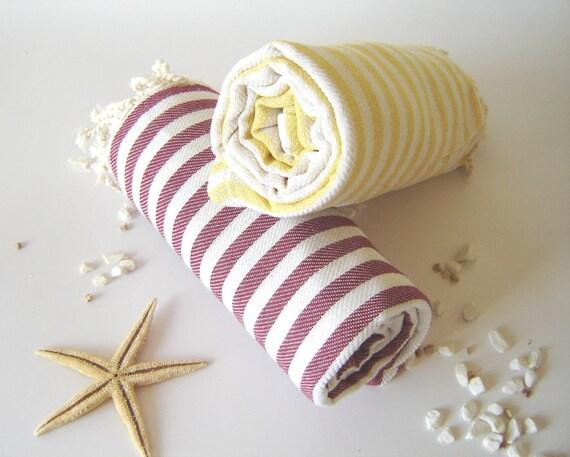 SALE Set of 2 Turkish Bath Towel: Handwoven Peshtemal, Bath, Beach, Spa Towel, Red and Yellow