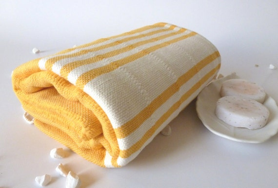Best Quality Turkish Towel, Peshtemal, Handwoven, Natural Soft Cotton, Bath and Beach Towel, Dark Yellow