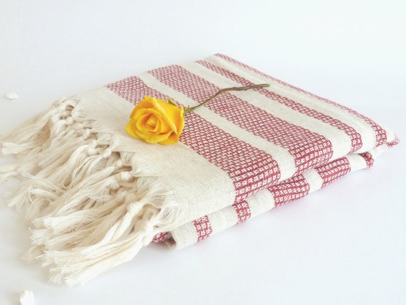 High Quality Turkish towel, Peshtemal, hammam towel, Handwoven, Turkish Bath Towel, Red