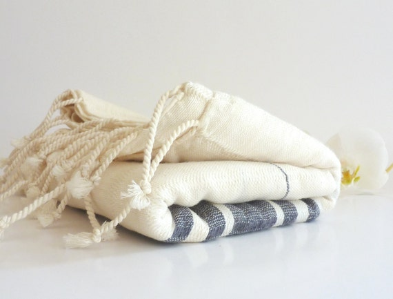 Organic Bamboo Turkish Towel, Peshtemal, Beach towel, Bath towel, Hammam towel,  spa, yoga, Natural Soft Bamboo, Gray