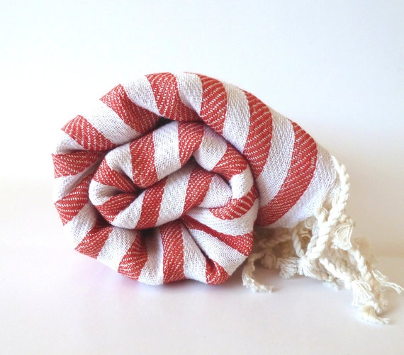 Premium Turkish Towel, Peshtemal, Beach towel, bath towel, hammam towel, Spa Towel, yoga towel, Wedding Gift, Family, Red