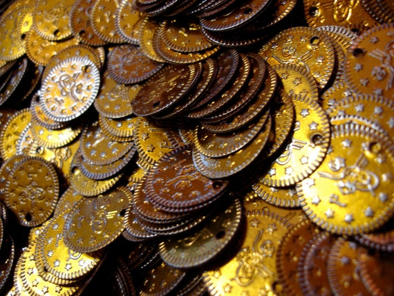 """100 large  bronze aluminum coins  5/8"""" or 15 mm"""