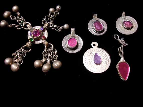 Six Kuchi and pink jewel coins for investment or Tribal belly dance