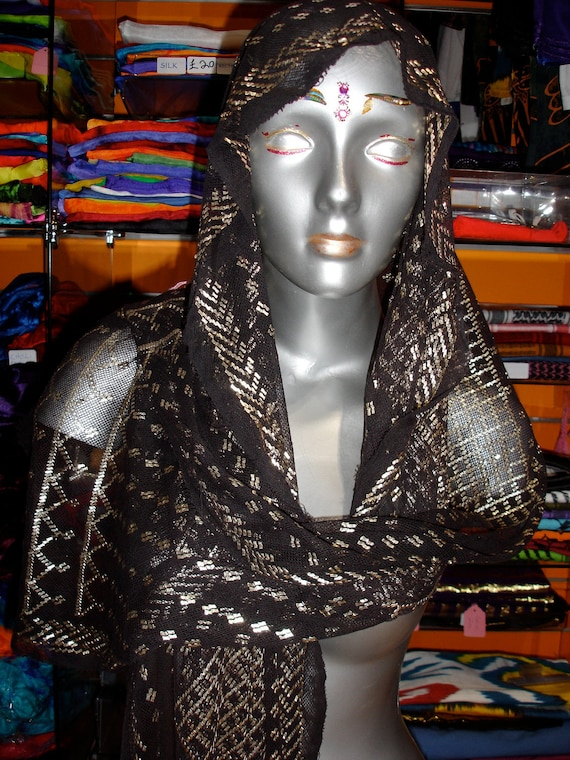 Antique Egyptian black and silver assuit tulle Coptic shawl (2)