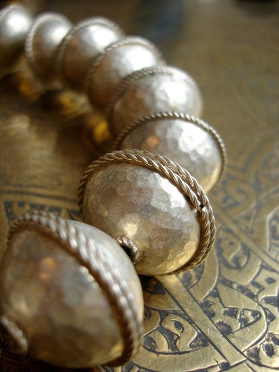 "21 Moroccan Berber tarnished hand beaten silver beads 1"" or 2.5 cm for Tribal fusion belly dance"