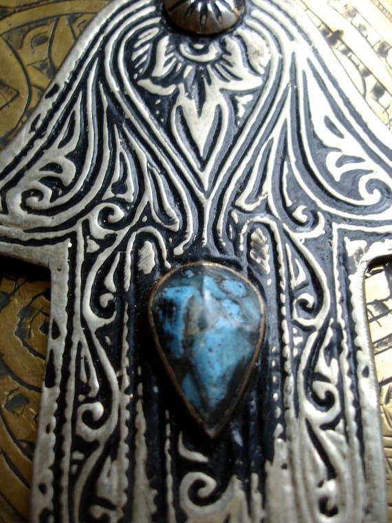 Blue Moroccan Hand of Fatima charm necklace pendant