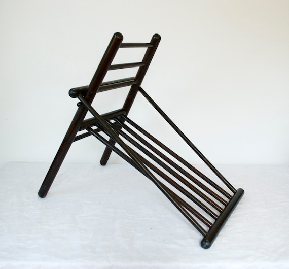 Antique Wood Folding Footstool