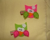 Owl Hair Clip- Cute and whimsical, You Choose Color  READY TO SHIP