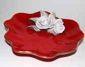 Red Porcelain Dish - White ROSES - Sculpted - Ornate - Vintage Centerpiece -  Holiday Tablescape