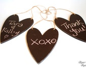 Chalk Board Signs- (set of 3 hanging hearts) For your Rustic, Country, Woodland, Outdoor, Black and White Damask Wedding Reception