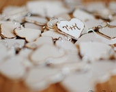 Rustic Wedding Favor Wood Heart Charm Tags (Set of 50) Personalized with your initials. Ships Quickly.