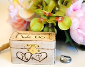 Rustic Wedding Ring Box Keepsake or Ring Bearer Box- Personalized Comes WIth Burlap Pillow. Ships Quickly.
