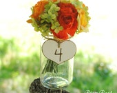 Wedding Table Numbers, Rustic Wood  Hearts with Twine (set of 5) Ready to Ship