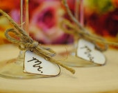 Mr and Mrs Glass Charms - Rustic, Country Wedding (Set of 2) Ready to Ship