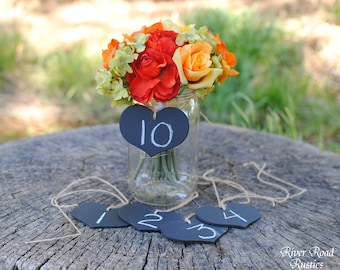 Rustic  Wedding Decorations-Chalkboard  Hearts with Twine (set of 15) - for centerpieces, table numbers, etc.