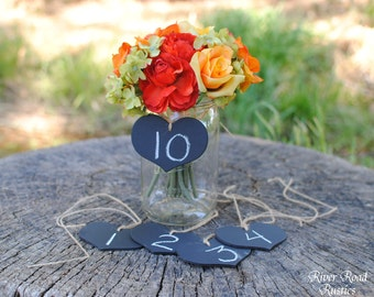 Rustic  Wedding Decorations-Chalkboard  Hearts with Twine (set of 10 Ready to Ship) - for centerpieces, table numbers, etc.