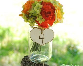 Country Wedding Table Numbers- Rustic Wood  Hearts with Twine (set of 10) Ready to Ship.