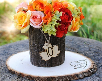 Rustic Wedding Table Numbers  -  Wooden Maple Leaf with Twine (set of 12) Ready to Ship