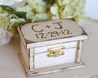 Petite Rustic Wedding Ring Box Keepsake or Ring Bearer Box- Personalized Comes WIth Burlap Pillow