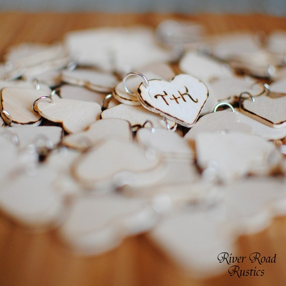 Rustic Wedding Favor Wood Heart Charm Tags (Set of 100) Personalized with your initials for wedding or shower favors. Ships Quickly.
