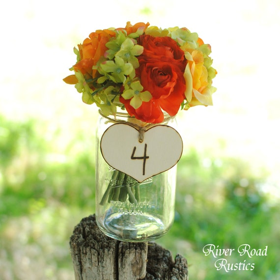 Wedding Table Numbers, Rustic Wood  Hearts with Twine (set of 15)